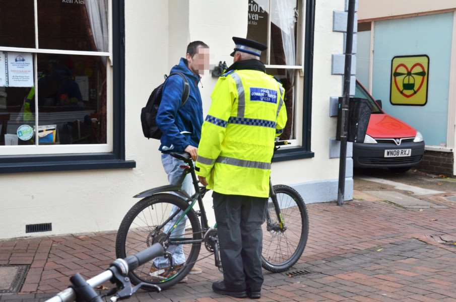 Library picture: Police speaking to a cyclist in a purge in November. SG221117-100TW