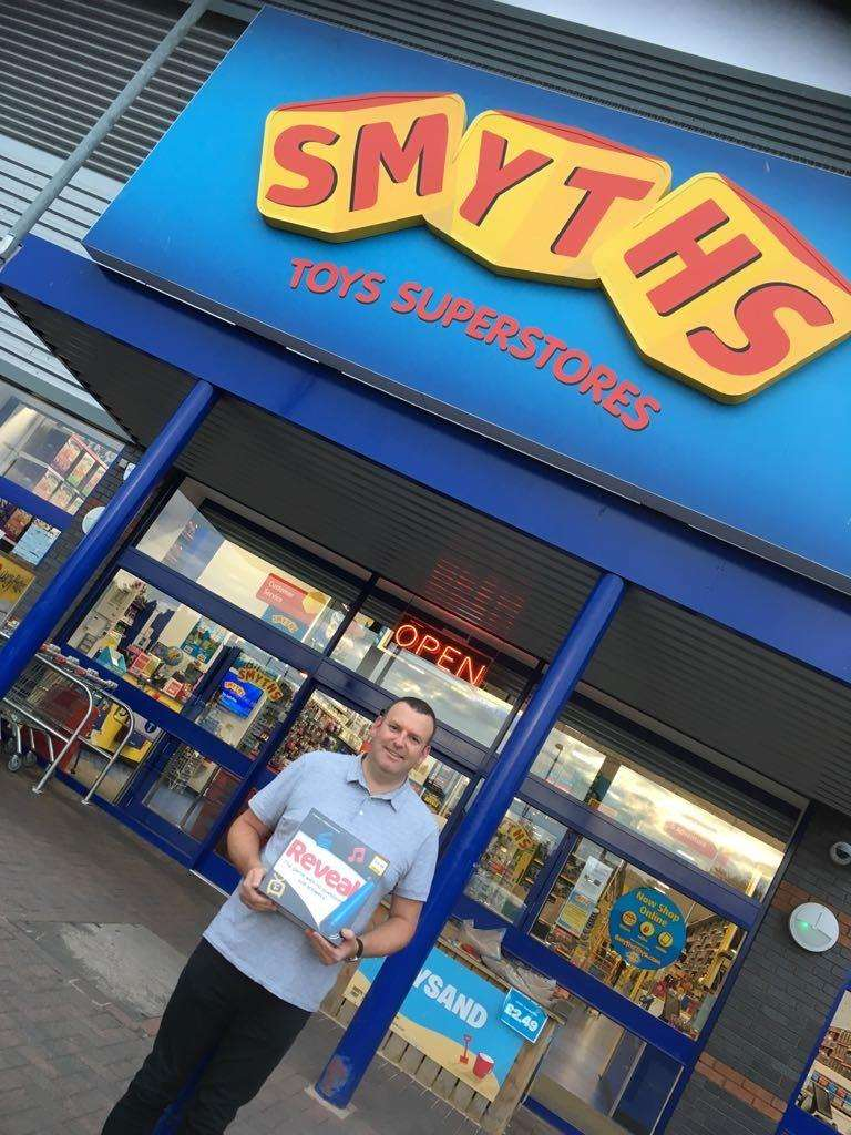 James Smith celebrates seeing his game on the shelves of toy retailer Smyths. (4480577)