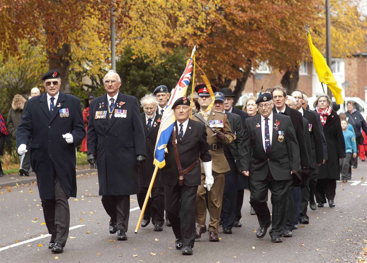 Servicemen and Royal British Legion members at Pinchbeck's Remembrance Day parade.Photo by Michael Fysh.Photo: SG-11011018-002MF
