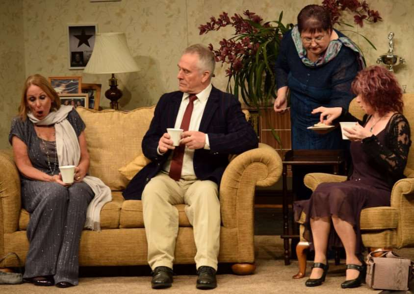 RETIRED THEATRICALS: Walter Neville (Jed Laxton) and the three ex-wives (Bev Moore, Mandie Collier and Natalie Mills) of Edmund Sullivan in St Nicolas Players' production of Old Actors Never Die...They Simply Lose the Plot at South Holland Centre, Spalding. Photo by Colette Buchanan-Gray.