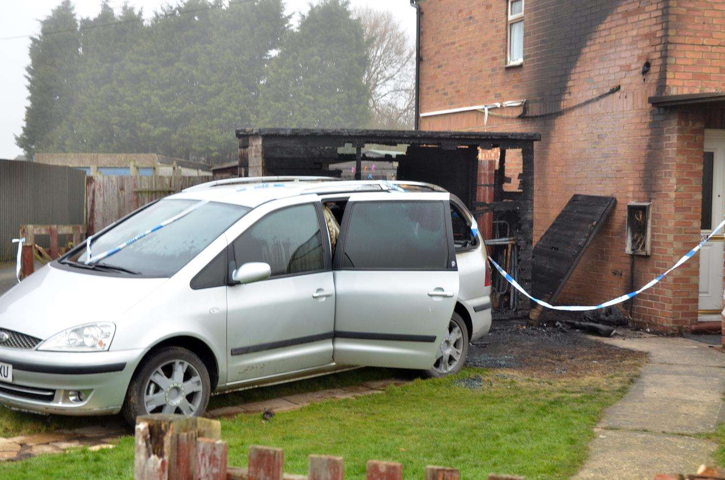 VILLAGE ARSONS: The vehicle, shed and house damaged by a fire in Old Fendyke Road, Weston Hills. Photo (TIM WILSON): SG-050219-018TW