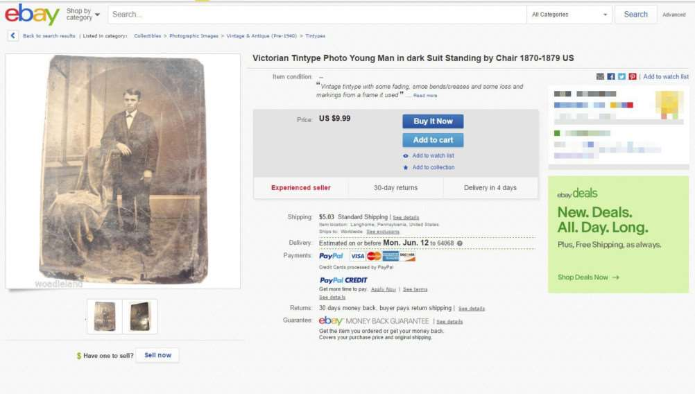 The eBay list where Justin Whiting picked up an old photo of outlaw Jesse James.