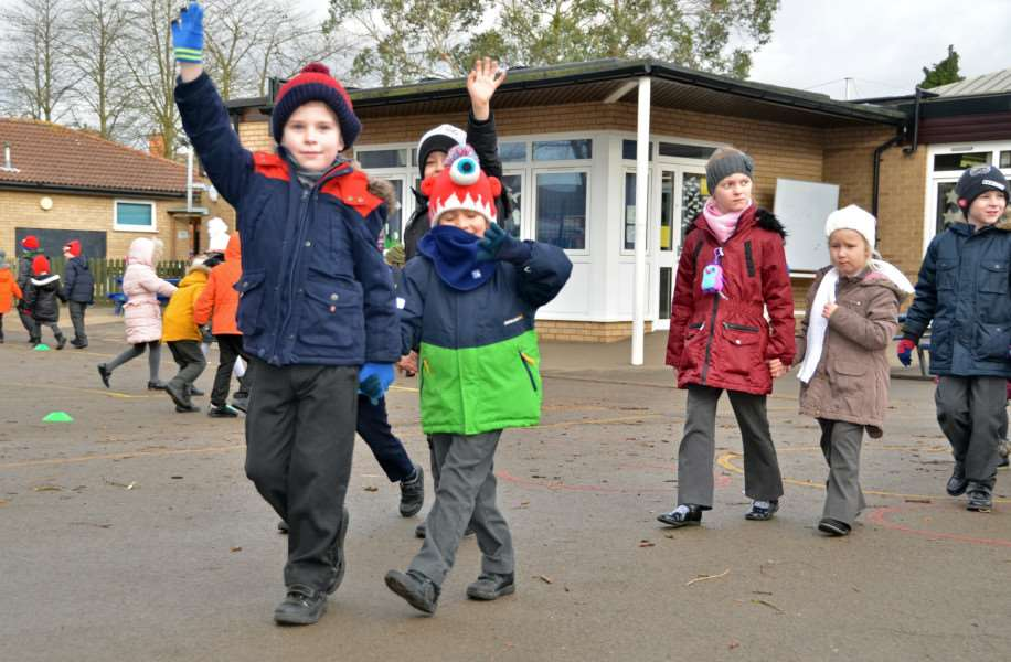 Monkshouse Primary School pupils on their charity winter walk. SG190118-413TW