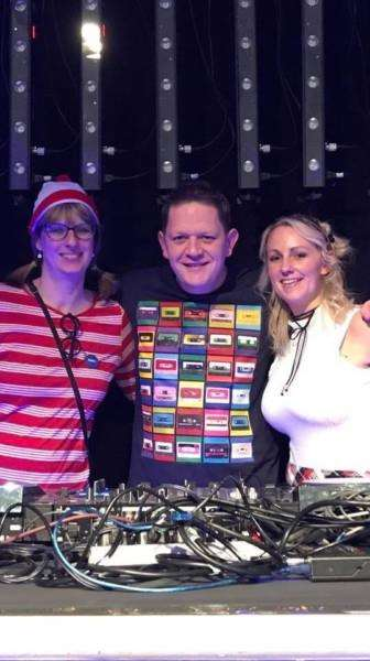 Organisers Jenny Carr and Gemma Robinson with DJ Shaun Neal.