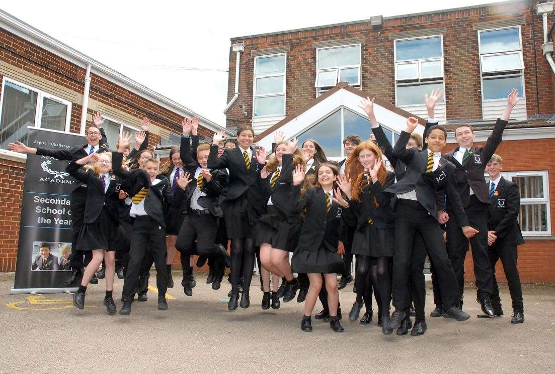 Spalding Academy students celebrate their good Ofsted report in July.Photo by Tim Wilson.SG-030719-8.