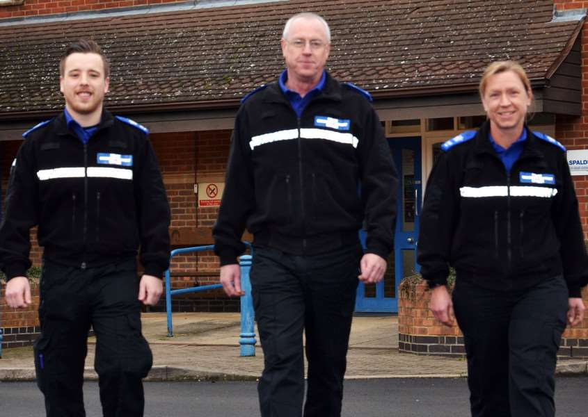 NEW PCSOs: Tim Nicholls, Ken Stephenson and Nikki Timms outside Spalding Police Station. Photo by Tim Wilson. SG220118-104TW.