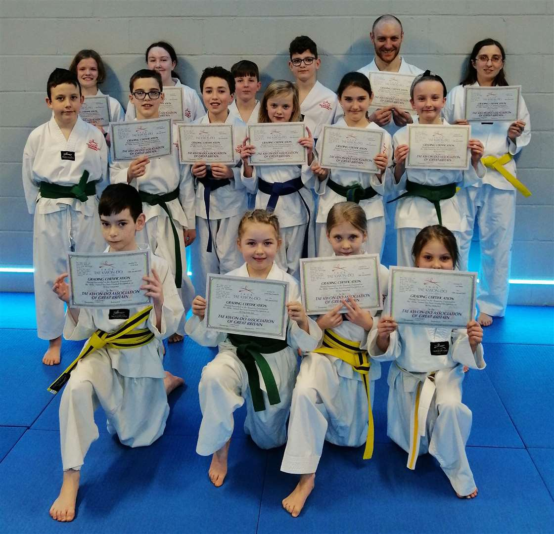 Students from the Mark Farnham Schools of Taekwondo, Spalding, who were successful in their colour belt grading exams.Photo supplied.