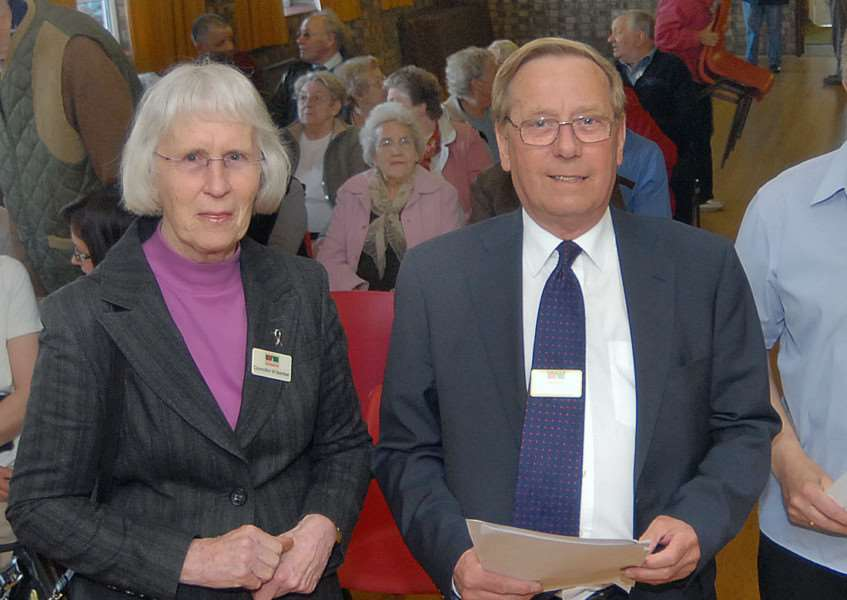 Former South Holland District Council members Marion Bamber and Doug Best at Pinchbeck Village Hall in May 2009. ''Photo: SG080509-706NG.