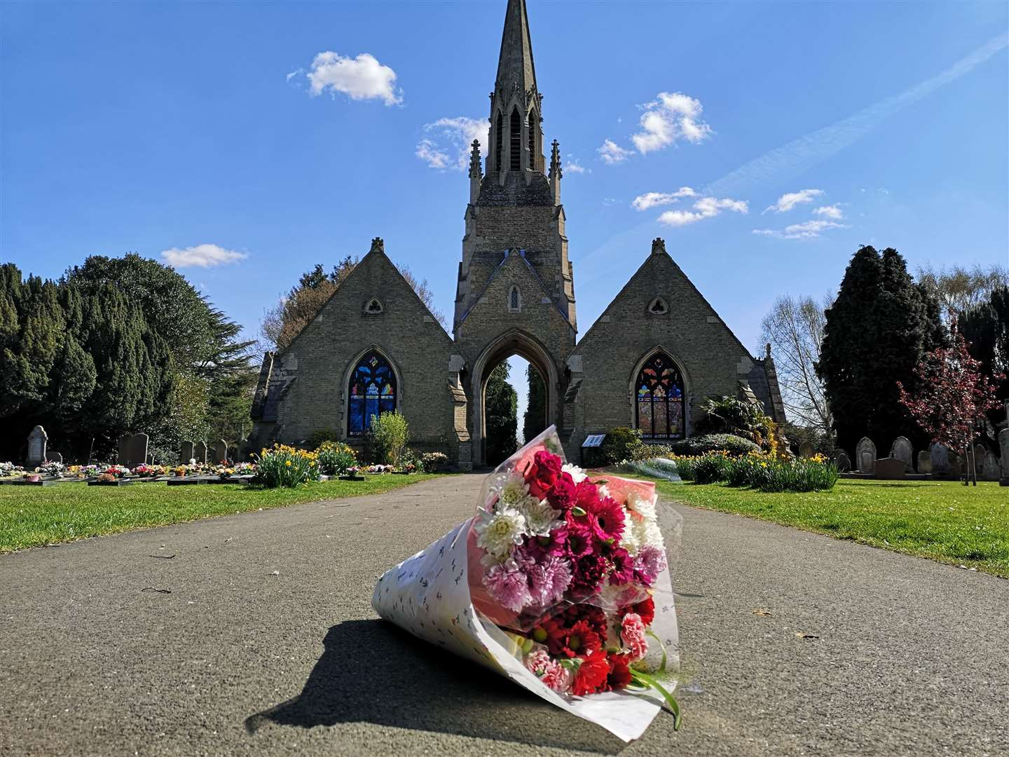 Flowers are laid at the closed cemeteries by Holbeach Parish Council (33199847)