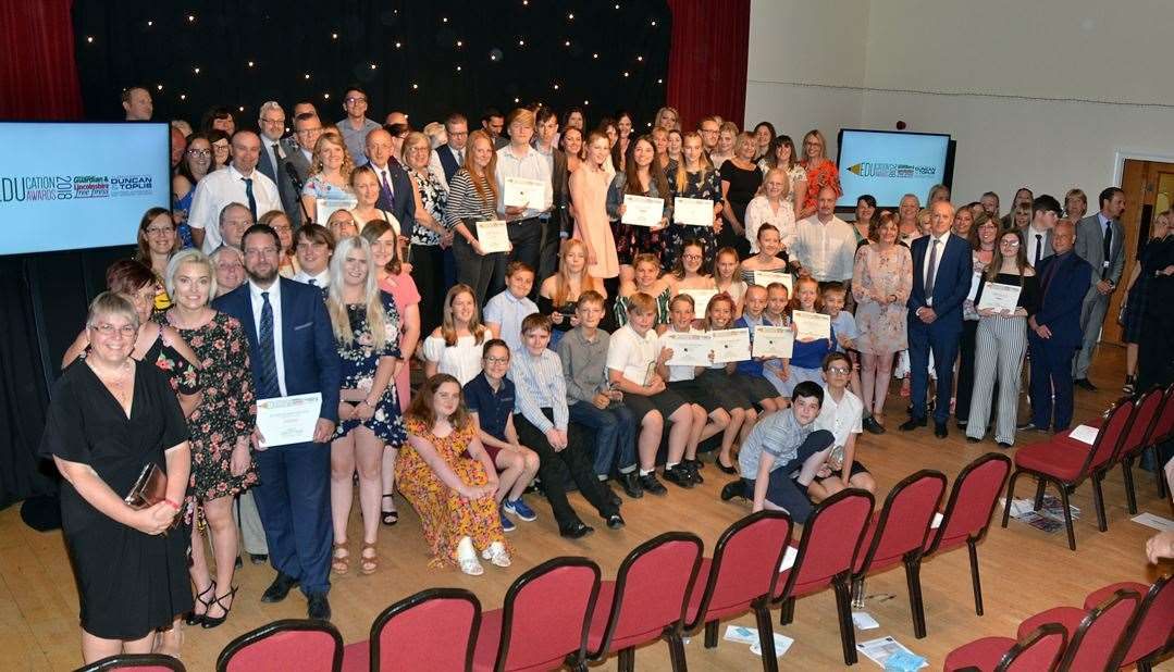 All the winners, finalists, award sponsors and guests at the 2018 Lincolnshire Free Press and Spalding Guardian Education Awards. Photo by Tim Wilson. 050718304SG.