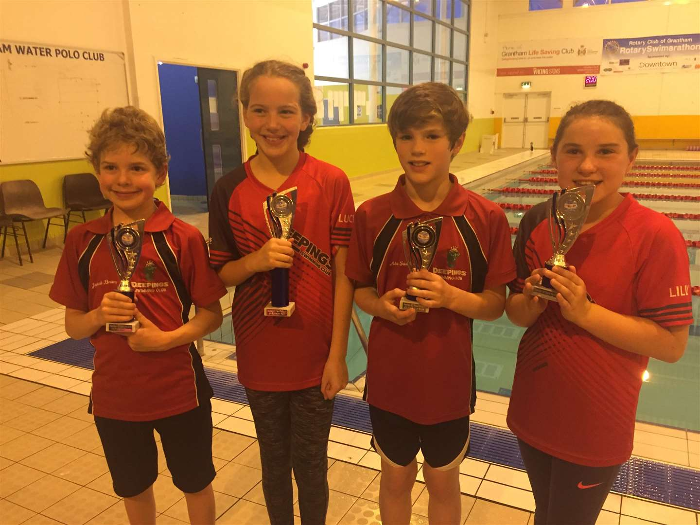 The trophy-winning Grantham Grand Prix team. From left – Jacob Briers, Lucia Karic, Alex Sadler and Lilly Tappern (missing Grace Edwards).