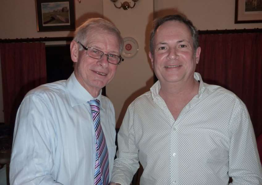 Outgoing musical director Robin Carter and new incumbent Geoff Ellerby