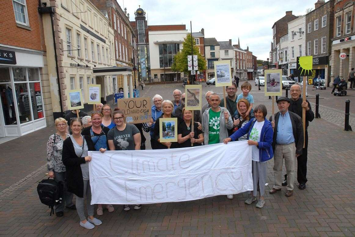 Environmental campaigners at a Global Climate Strike event held in Spalding's Market Place on Friday.Photo (TIM WILSON): SG-200919-027TW