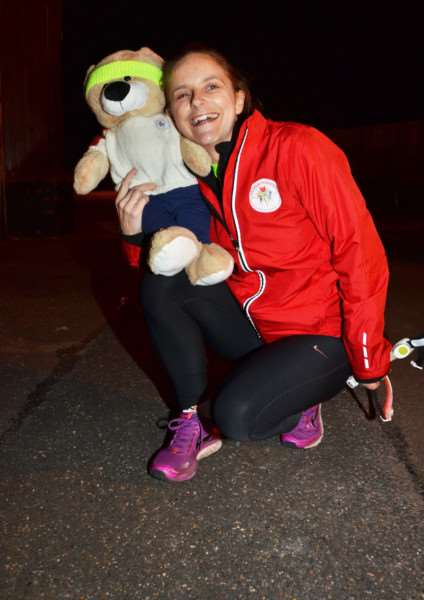 Halmer Harriers founder 'Lisa Gill with the running club's mascot outside The Birds pub in Spalding. Photo by Tim Wilson. SG051217-103TW.