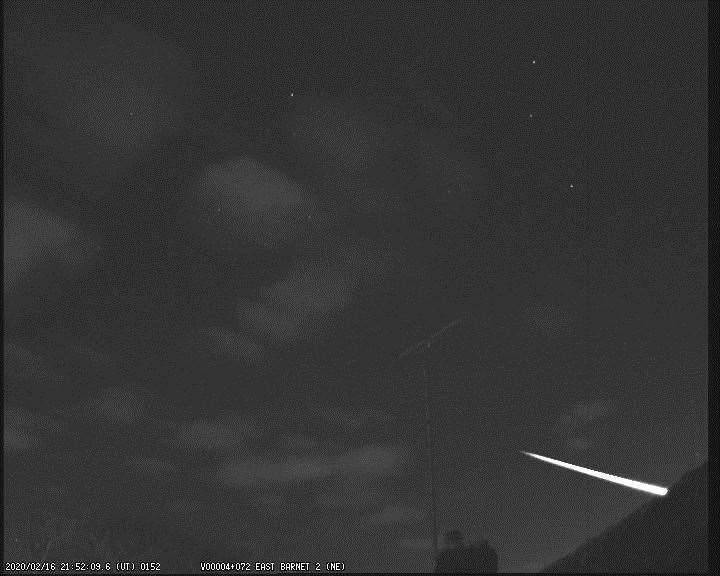 The meteor was seen across the sky in Lincolnshire on Sunday night (February 16). Photo supplied by the UK Meteor Network, captured here in East Barnet, London. (29533613)