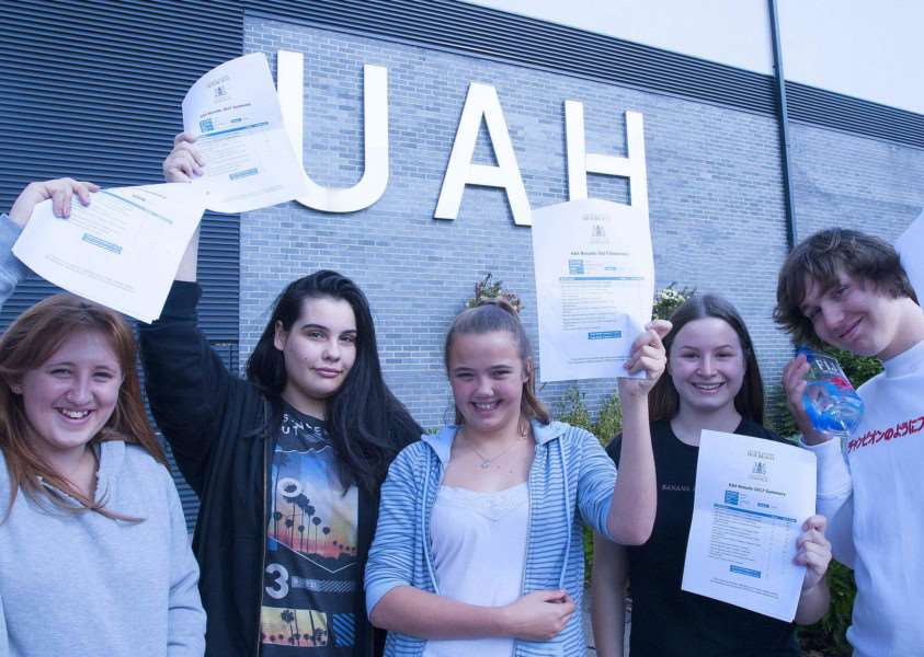 HIGH FLYERS: Successful GCSE students at University Academy Holbeach in August 2017 are (from left) Jade Price. Kathryn White. Jodie Shepherd-Venni. Rebecca Platt and Tommy Rose. Photo by Michael Fysh. SG240817-011MF.