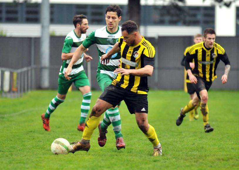 Mitch Griffiths on the attack against Newport Pagnell