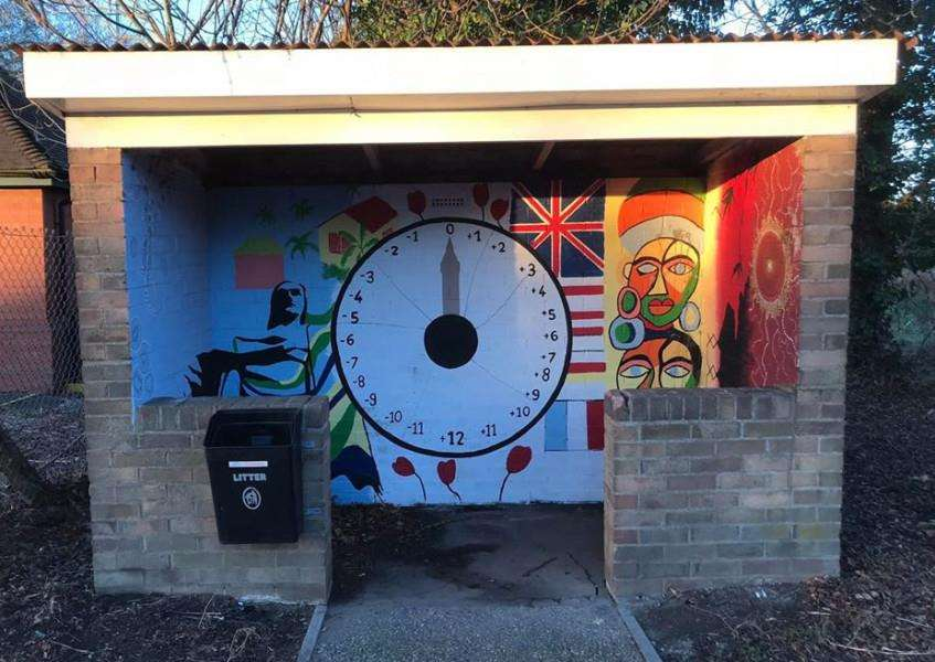 The artwork inside Wignals Gate bus shelter in Holbeach was vandalised during the week after Easter. Photo supplied by Holbeach Parish Council.