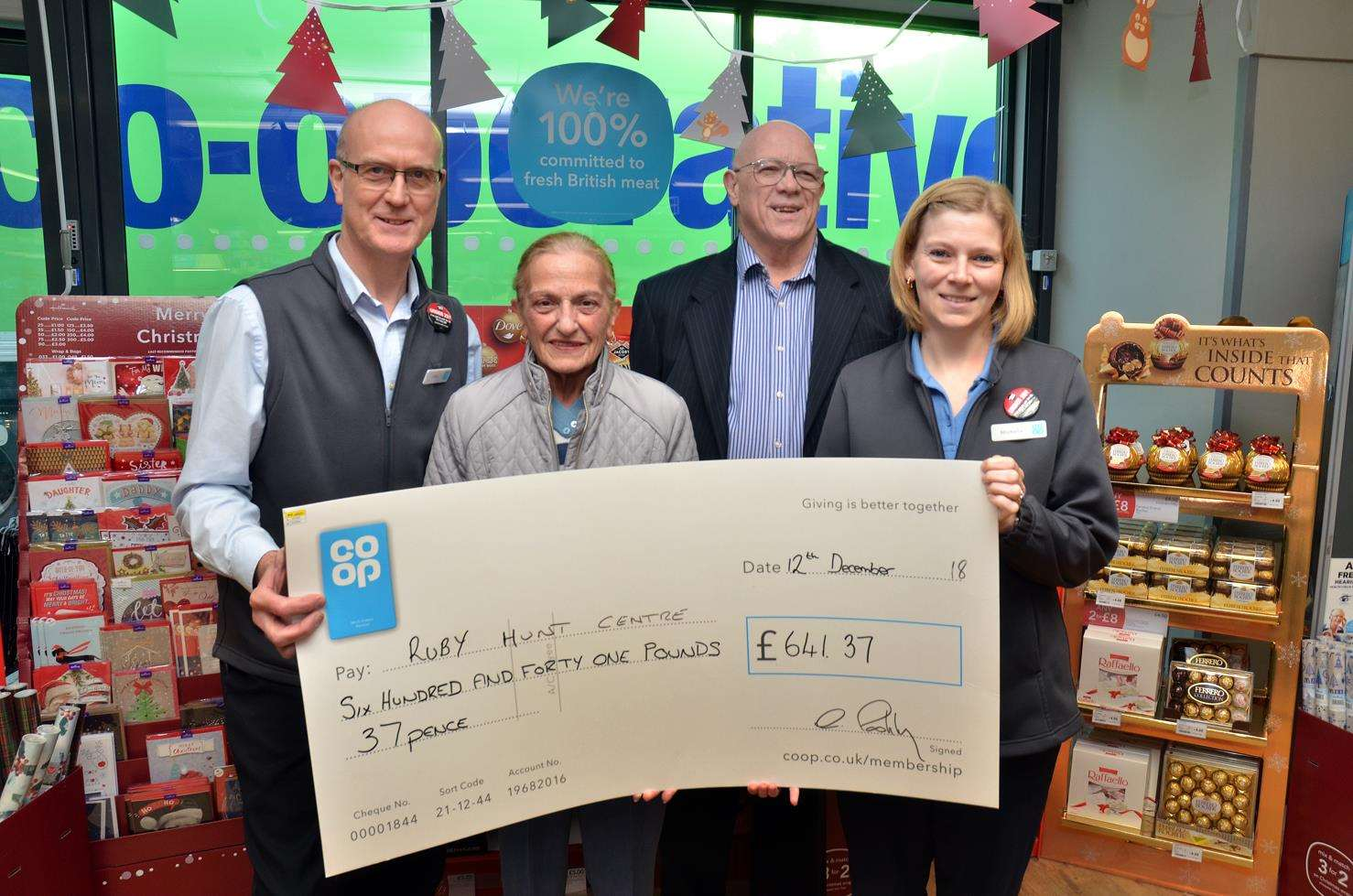 Pictured are Donington Co-op store manager Chris Pashley, Ruby Hunt Centre manager Margaret Kenworthy, centre chairman Alan Inns and store community fundraiser Michelle Thorpe.