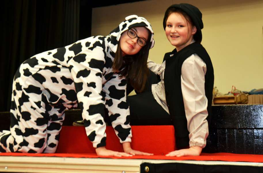 Grace Pharro as Milky White and Libby Davies as Jack from Jack and the Beanstalk. Photo: SG110118-108TW