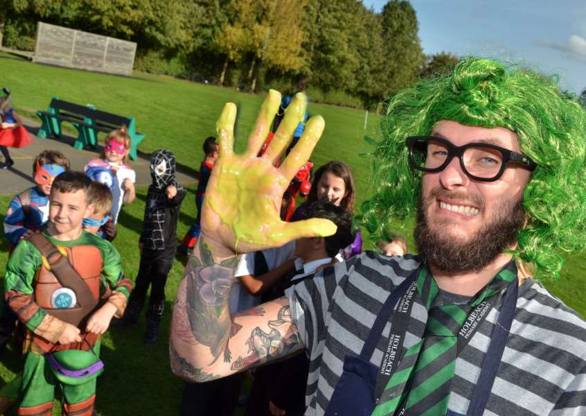 Professor Slime was up to some dirty tricks at Holbeach Primary Academy's superhero day. Photo (TIM WILSON): SG121017-131TW