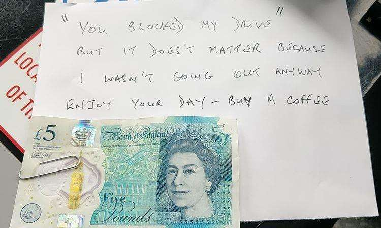 An ambulance crew from Bourne found this surprise note and gift on their vehicle after blocking someone's drive whilst treating a patient in Pinchbeck on Sunday. Photo supplied by EMAS.