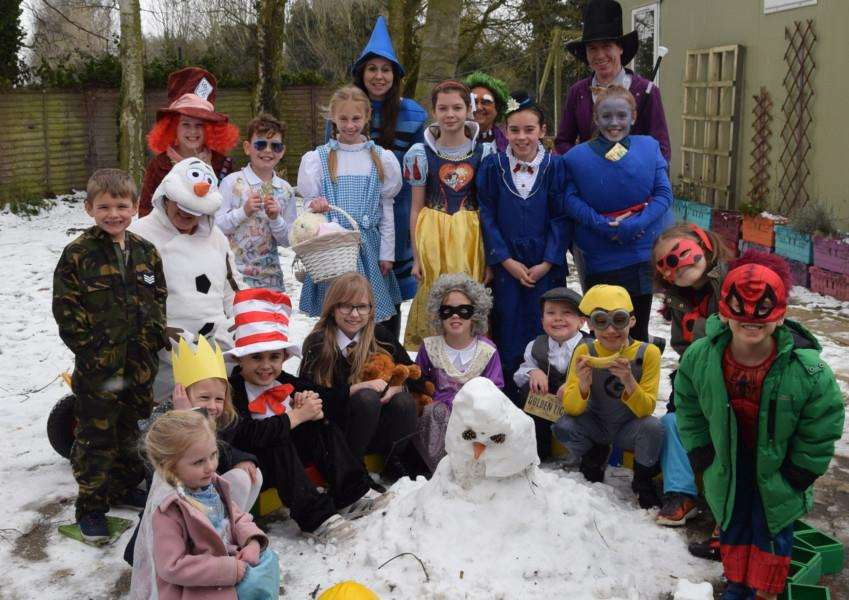 World Book Day, in the snow, at Tydd St Mary Primary School
