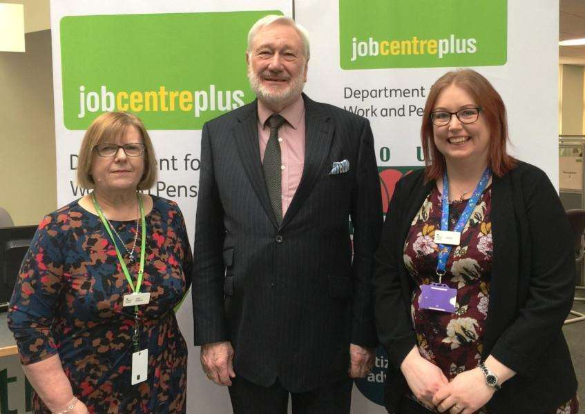 Work Coach Team Leader Sally Ballard, SHDC Deputy Leader Malcolm Chandler and Jobcentre Customer Service Manage Louise Cole.