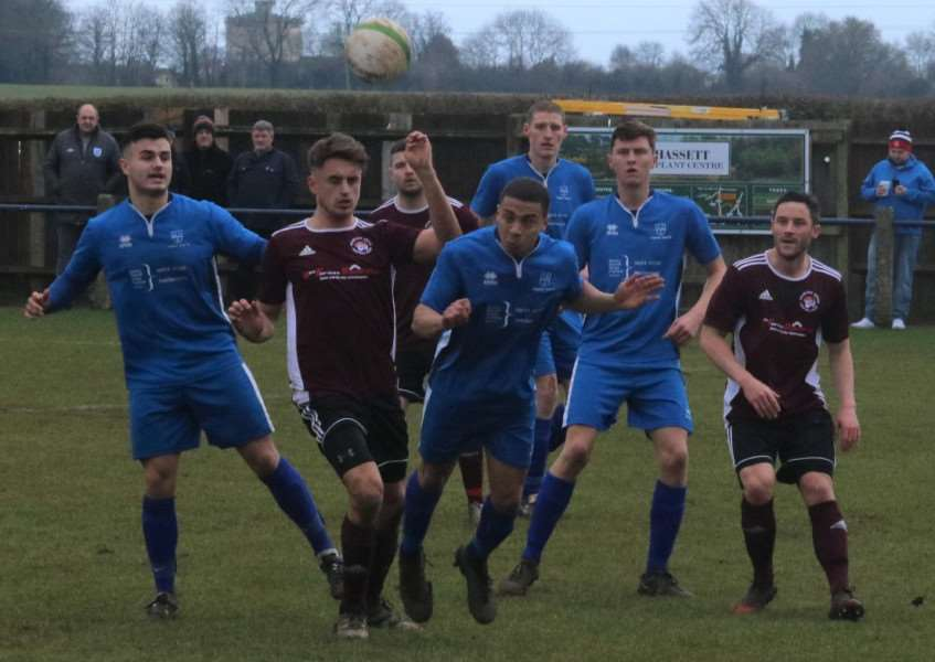 Action from the 1-0 defeat at Cogenhoe on Saturday