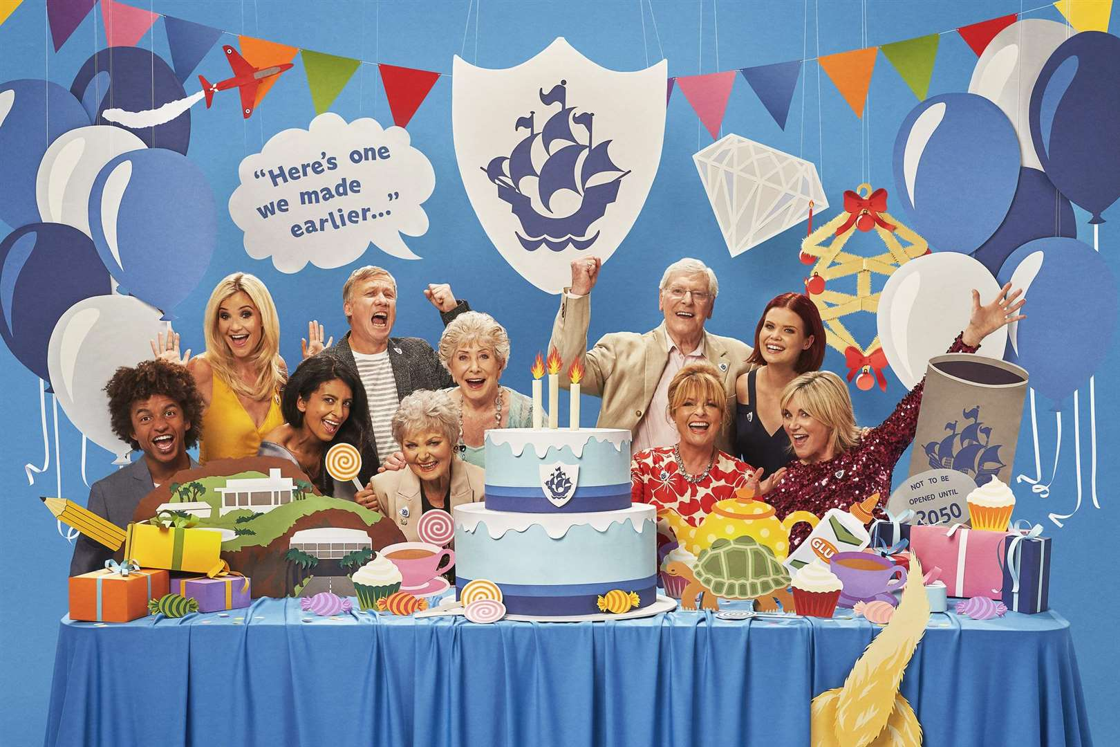A special edition of Blue Peter airs on Monday to mark its 60th anniversary. Pictured are: Anthea Turner, Lindsey Russell, Janet Ellis, Peter Purves, Valerie Singleton, Leila Williams, Peter Duncan, Konnie Huq, Helen Skelton and Radzi Chinyanganya - (C) BBC - Photographer: Joe Giacomet.