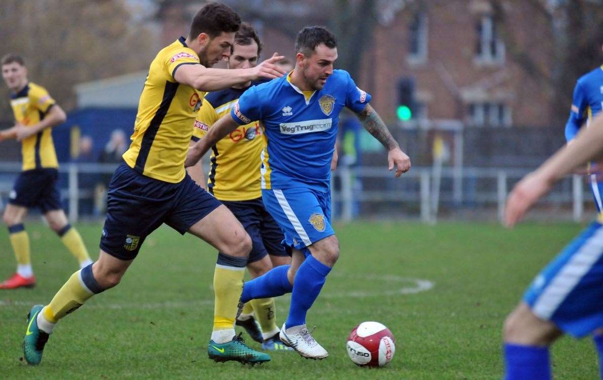 Leon Mettam on the attack during the home defeat to Tadcaster