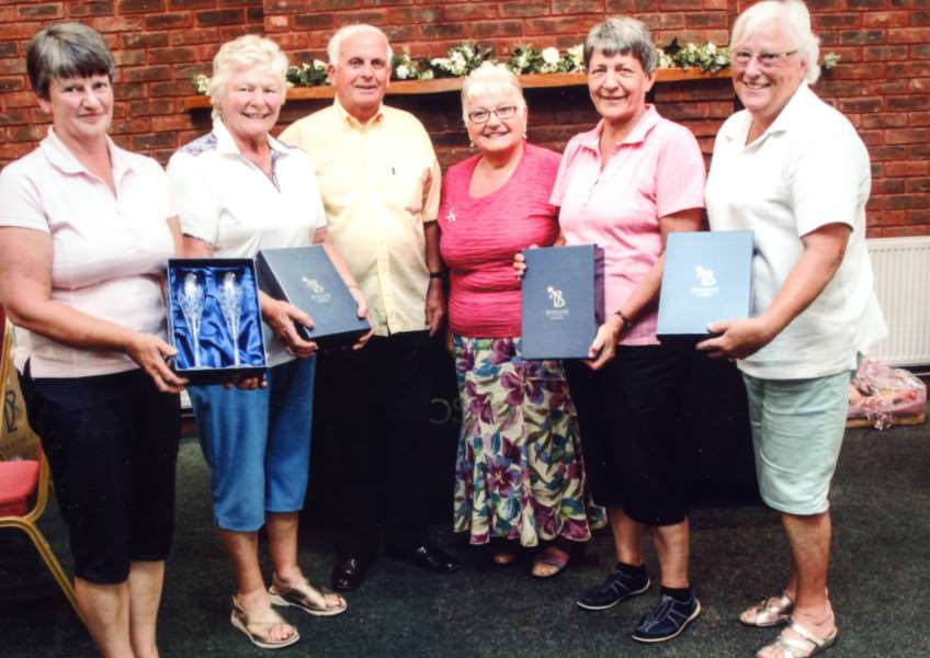 The successful women's team from the 15th Katie Clarke Memorial Fund Golf Day at Boston West Golf Club with Fred and Margaret Clarke (centre). Photo supplied.