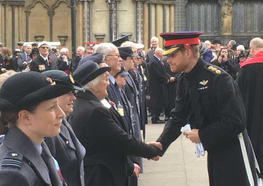 Sandie Hern meeting Prince Harry at the opening of the Field of Remembrance at Westminster Abbey on November 9.