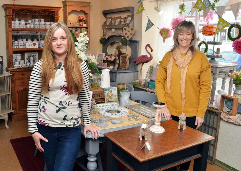 Sophie Mace and Sue Parsons at Bon Appechic in South Street, Crowland, where upcycled furniture, gifts and crafts are on sale. Photo by Tim Wilson. SG270318-101TW.