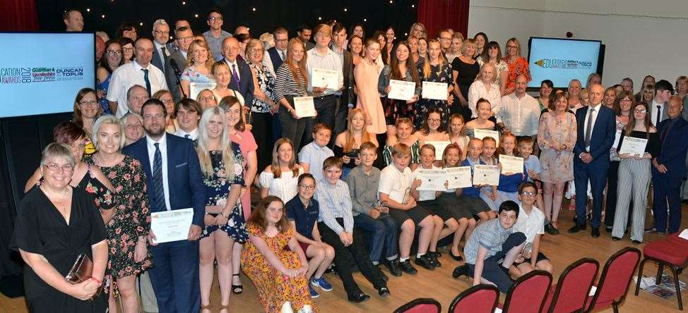 All the winners, finalists, award sponsors and guests at the 2018 Lincolnshire Free Press and Spalding Guardian Education Awards.Photo by Tim Wilson.050718304SG.