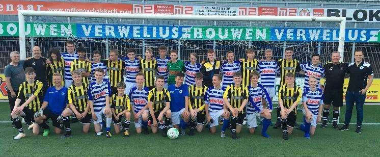 Holbeach (yellow and black) and SV Spakenburg (blue and white) after the game