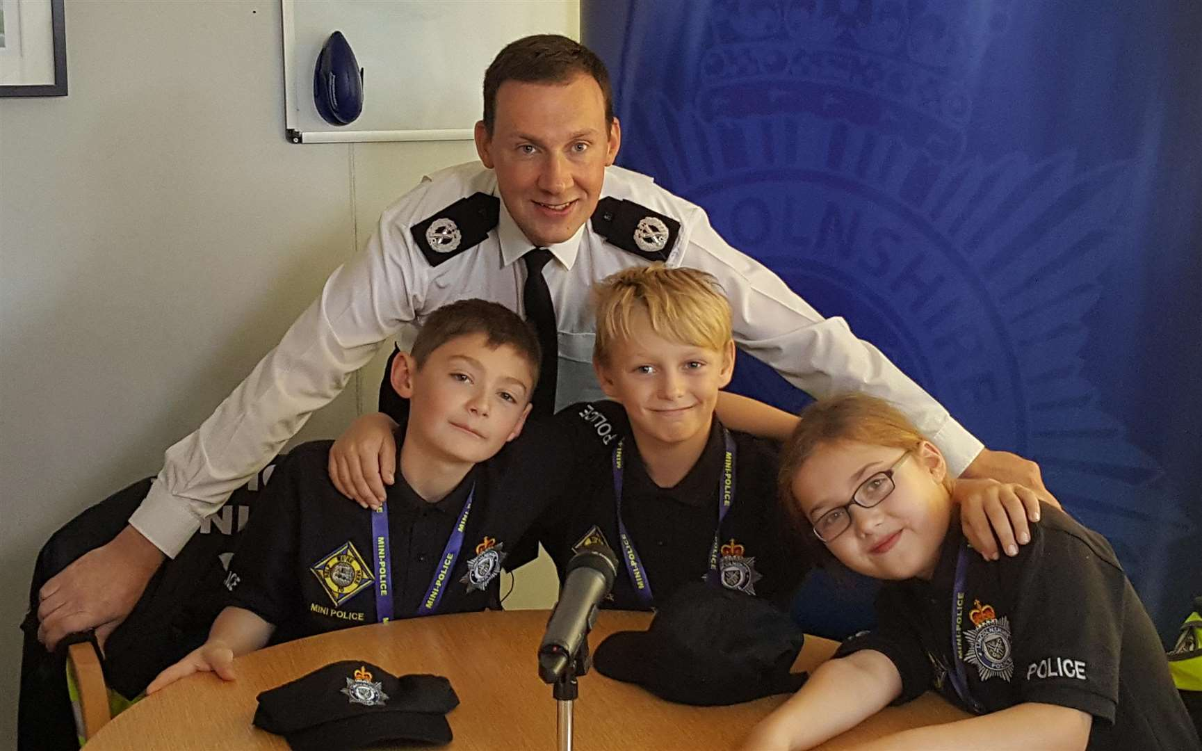 Assistant Chief Constable Shaun West with Mini-Police in Boston. Photo supplied. (3021365)