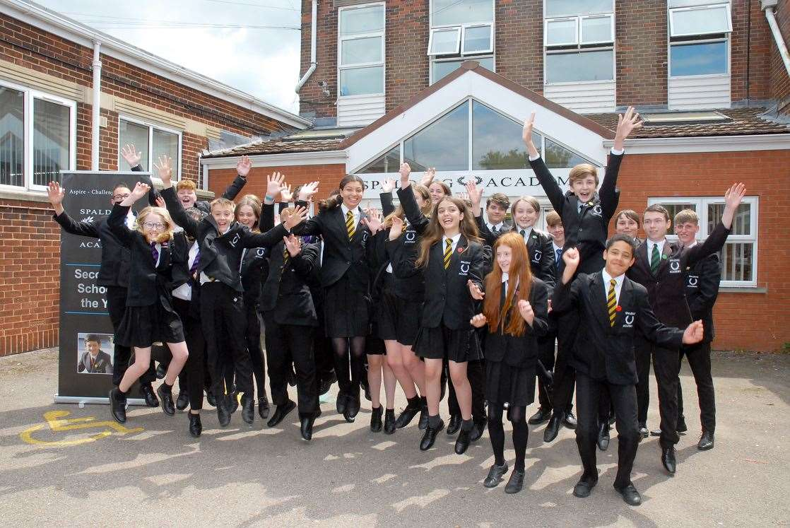 Spalding Academy students celebrate their good Ofsted report in July.Photo by Tim Wilson.SG-030719-9.