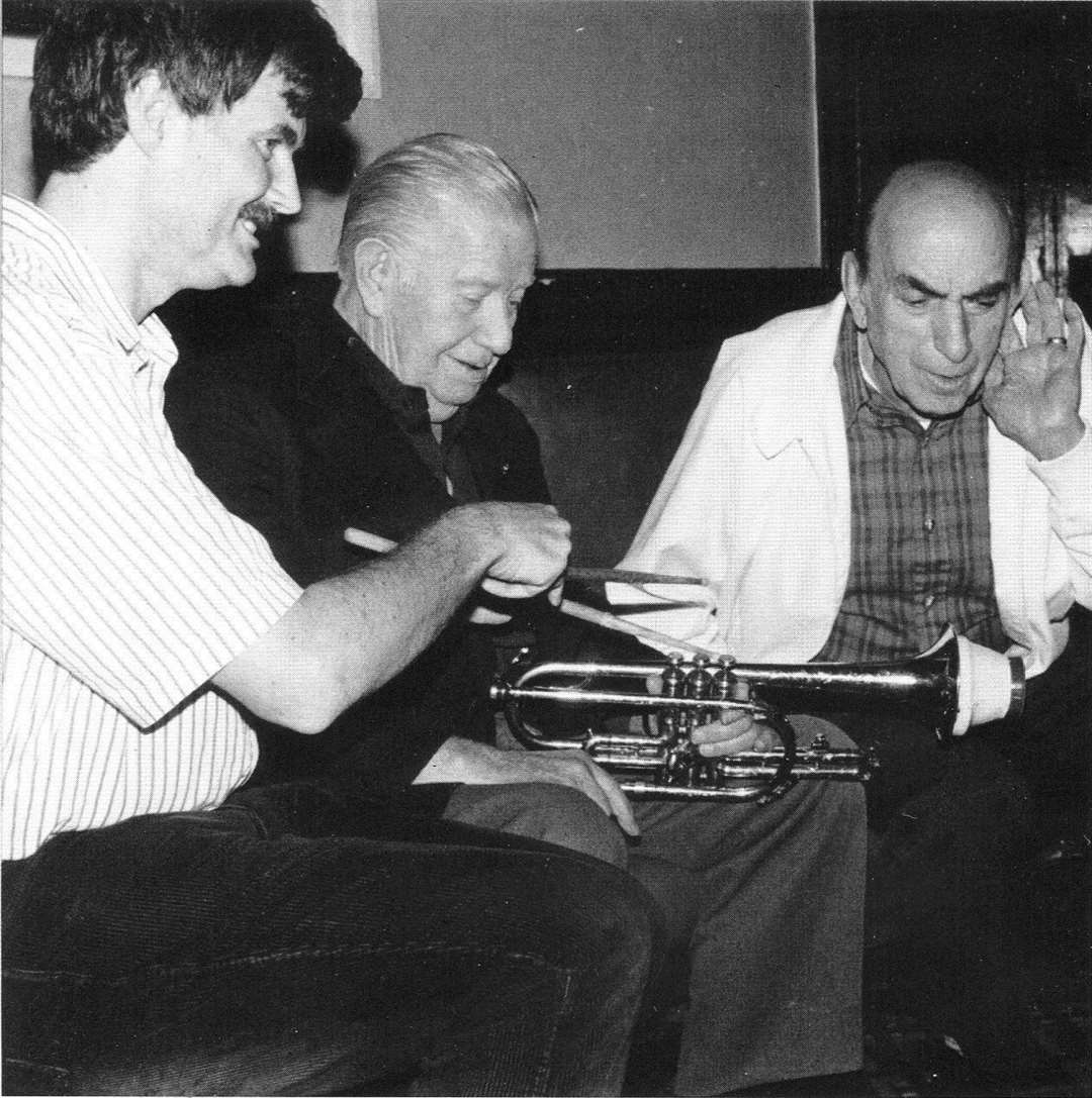 American jazz legends, Wild Bill Davison and Art Hodes, pictured with John Petters taken while touring in 1989.(23220638)