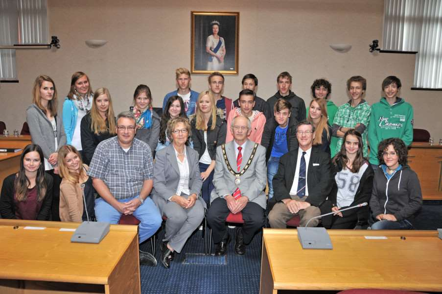 Coun Robert Clark (front, centre) hosting visitors from Speyer to Spalding Grammar School. SG140613-117TW