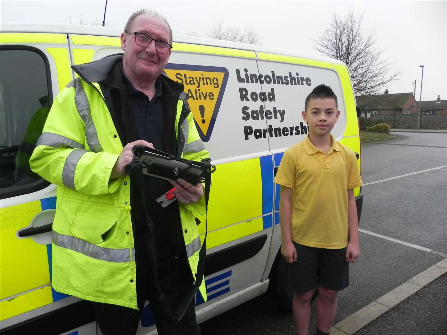 Lincolnshire Road Safety Partnership's data collector/analyst John Wise visiting Weston Hills Primary School