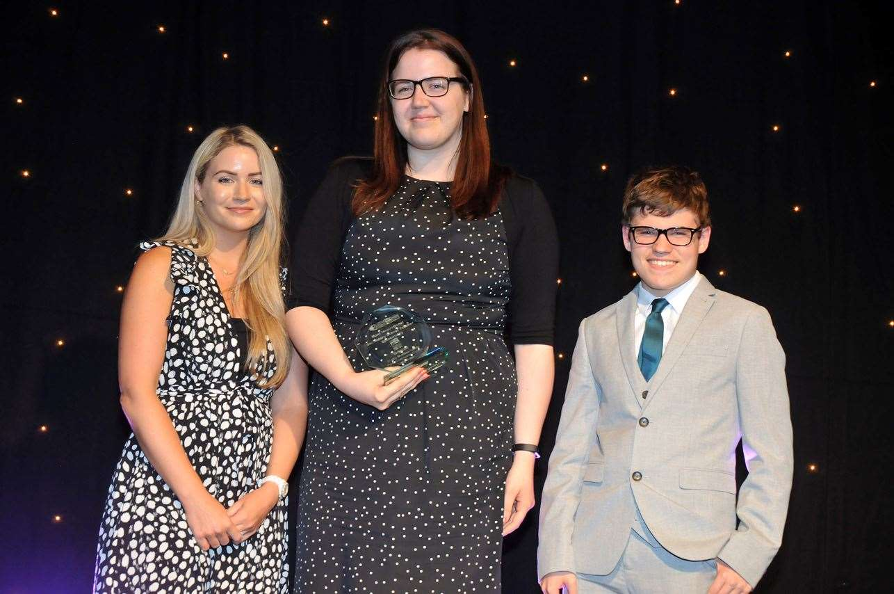 EDUCATION AWARDS 2019: Most Inspirational Secondary School Teacher 2019, Shelby Mombourquette (centre), with Peele Community College student Charles Ingham and Sasha Mapes (on behalf of category sponsors Produce Industry Expo 2019). Photo by Tim Wilson. SG-040719-094TW