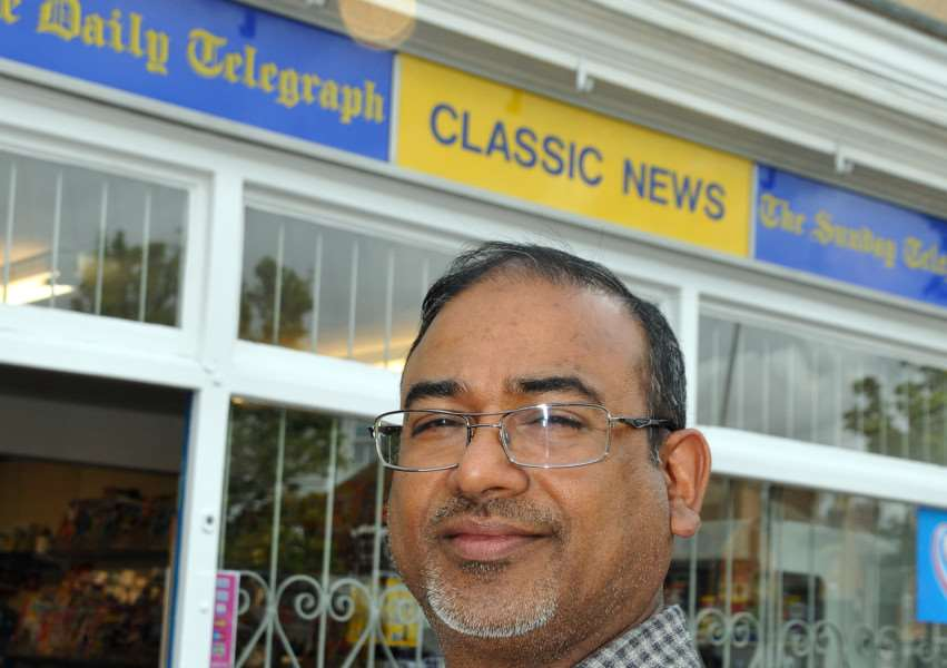 TOWN BREAK-IN: Asgar Vanparekh outside Classic News in Sheep Market, Spalding, soon after taking over the shop in May 2015. Photo by Tim Wilson. SG030615-105TW.