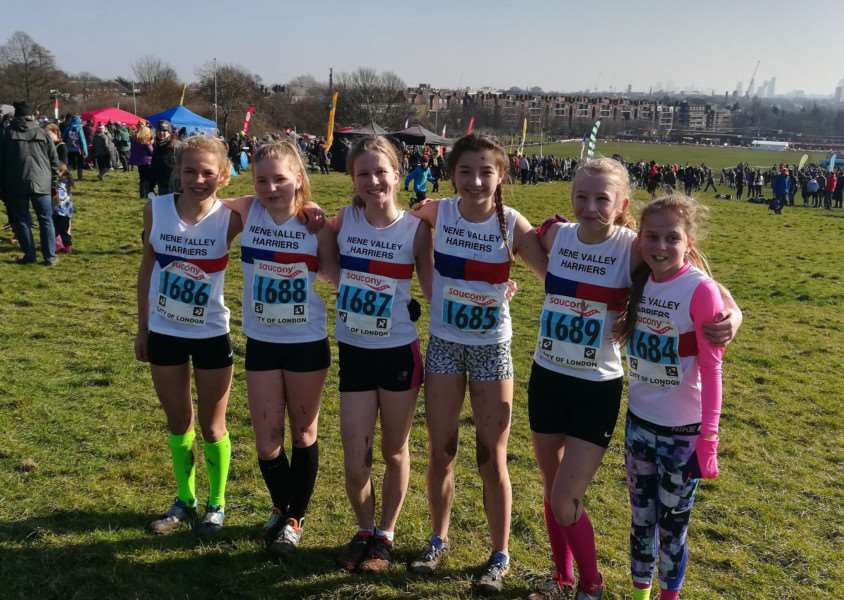 Nene Valley Harriers under-13s ' from left, Leonie Hart, Josie Knight, Lottie Hemmings, Amelia Devine, Niamh Hodgson and Chelsie Bole.