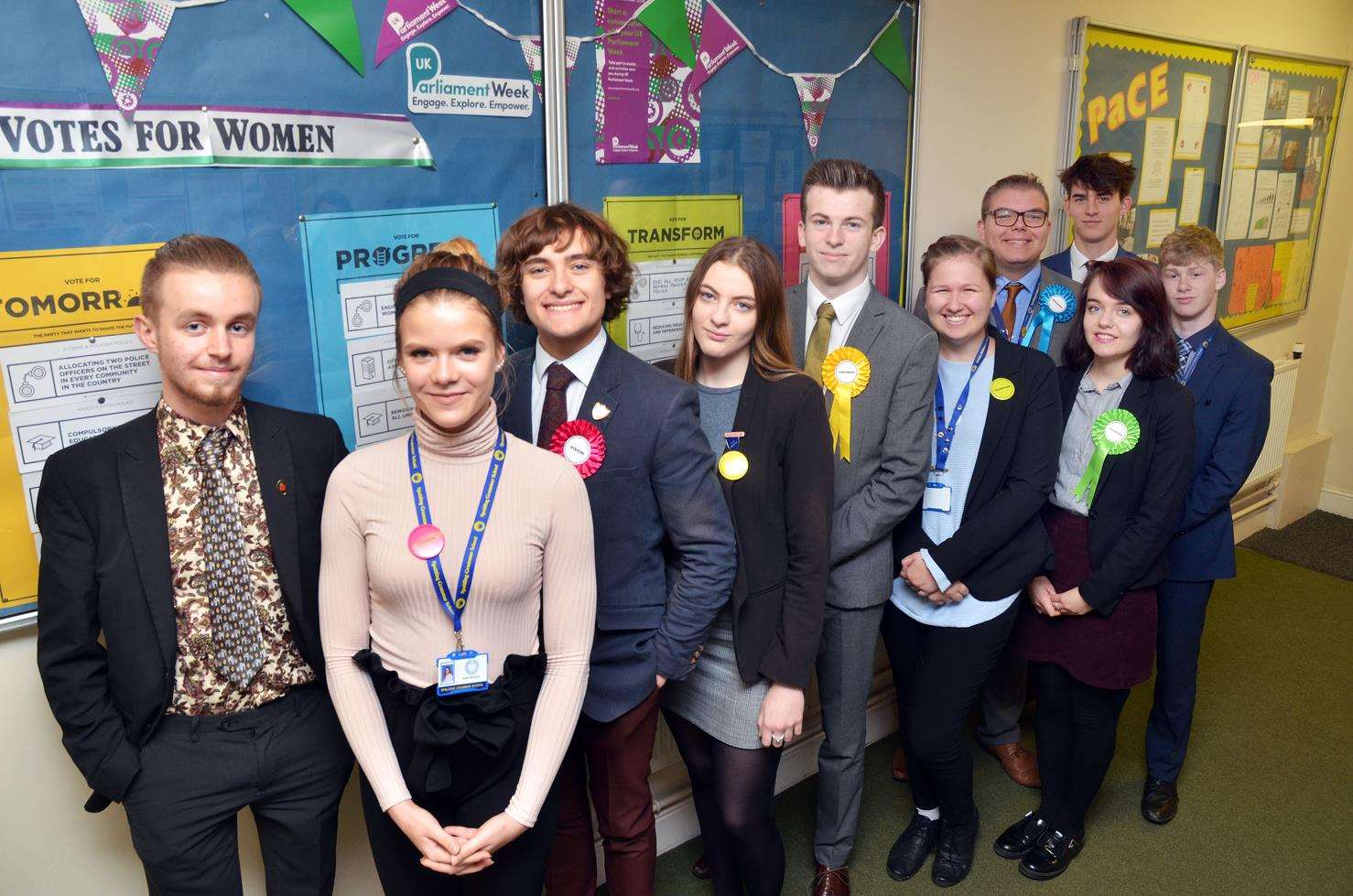 Party leaders and supporters Joe Seth, Anete Murniece, William Hayes, Becca Long, Harry Padoan, Hannah Catterall, Franklin Stokes, Neave Shaw, Joe Gill and Jack Braginton