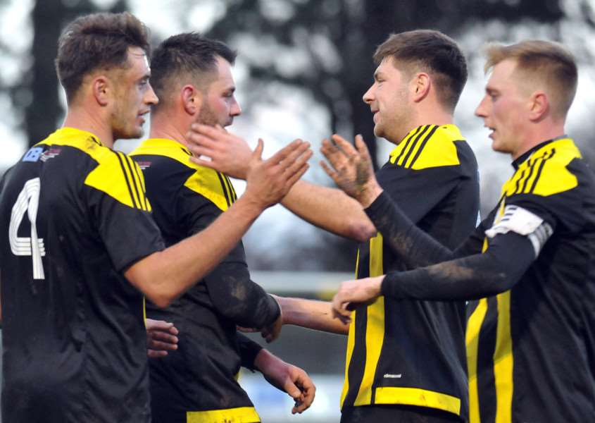 Holbeach celebrate the third goal against St Andrews on Saturday