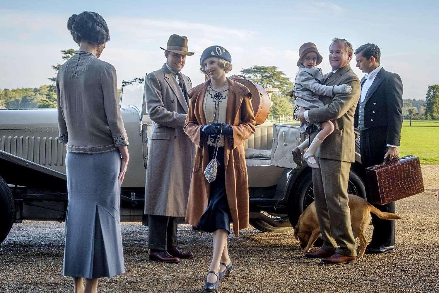 Elizabeth McGovern Hugh Bonneville Harry Hadden-Paton Laura Carmichael and Michael Fox in the Downton Abbey movie
