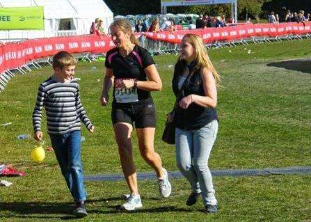 Diane Morris, with children Daniel and Beth, at the end of the 2013 Robin Hood Marathon in Nottingham. Photo supplied.