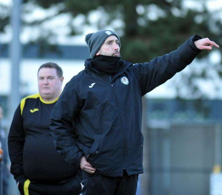 Holbeach United manager Danny Hussey (right), with assistant Tim Cole.Photo by Tim Wilson. (28779610)