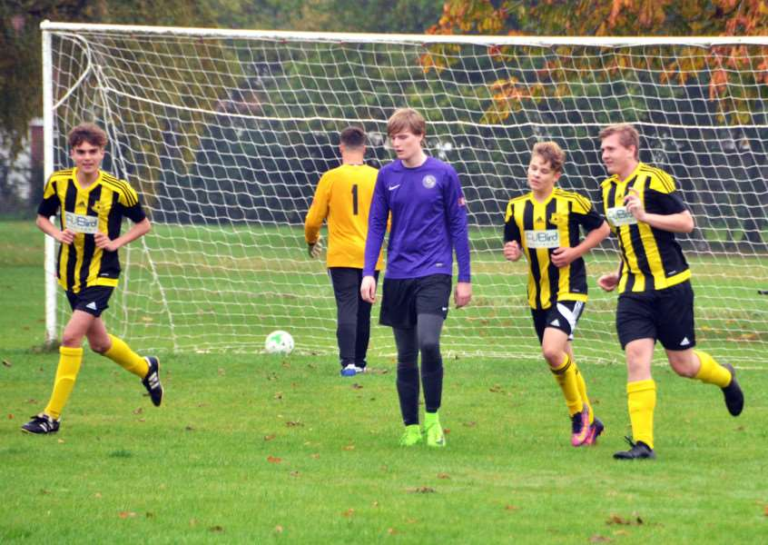 ON TARGET: George Cushen celebrates scoring in the 5-0 home win for Crowland Juniors under-16s against Rippingale & Folkingham last weekend.